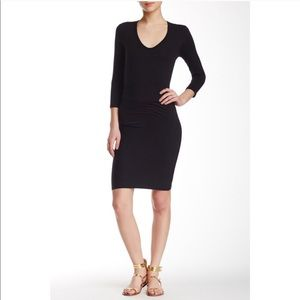 James Perse 3/4 Sleeve Ruching Side Dress